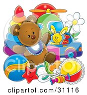 Clipart Illustration Of A Teddy Bear With Baby Toys In A Nursery by Alex Bannykh