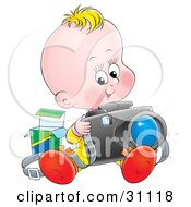Clipart Illustration Of A Blond Baby Sitting And Taking Pictures With A Camera