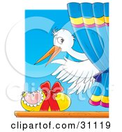 Clipart Illustration Of A White Stork Waving While Delivering A Newborn Baby In A Window by Alex Bannykh