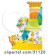 Clipart Illustration Of A Curious Orange Cat By A Table With Flowers A Lamp Baby Bottle Pacifier And Baby Supplies