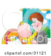 Clipart Illustration Of A Loving Father Picking Up His Child After Arriving Home From Work
