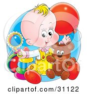 Blond Haired Baby Sitting On The Floor Of A Nursery Playing With A Balloon Teddy Bear Rings Rattle And Pacifier
