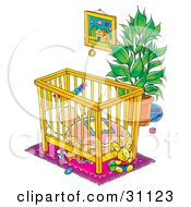 Baby Sound Asleep In A Crib In A Nursery Room With Toys Under The Bed