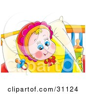 Happy Blue Eyed Baby Girl In A Bonnet Bundled Up In A Blanket And Resting On A Pillow With A Pacifier By Her Head