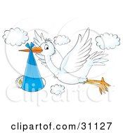 Clipart Illustration Of A Flying White Stork Bird With A Baby Bundled In A Blue Cloth by Alex Bannykh