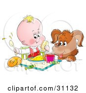 Clipart Illustration Of A Puppy With His Paws Up On A Table Watching A Baby Make A Mess While Eating by Alex Bannykh