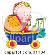 Clipart Illustration Of A Blond Baby Sucking On A Pacifier Standing Up In A Baby Carriage by Alex Bannykh