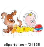 Clipart Illustration Of A Brown Puppy Dog And Baby Playing With A Ball