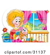 Clipart Illustration Of A Loving Mother Holding Her Child In Her Arms And Playing With A Rattle
