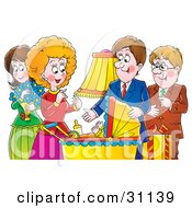 Clipart Illustration Of A Family Aunt Uncle Mother And Father Adoring A Baby In A Carriage by Alex Bannykh