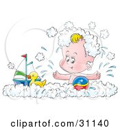 Clipart Illustration Of A Happy Baby Splashing And Playing With A Toy Boat Rubber Ducky And Ball In A Bubble Bath