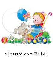 Clipart Illustration Of A Puppy Dog Walking Alongside A Baby In A Stroller Who Is Holding Onto A Balloon And Watching A Butterfly by Alex Bannykh