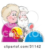 Clipart Illustration Of A Happy Grandma And Grandpa Playing With Toys And Admiring Their Grandchild by Alex Bannykh