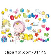 Clipart Illustration Of A Crawling Little Baby In A Bonnet Surrounded By Toys Bows A Bottle Gift And Pacifier