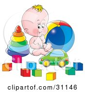 Happy Baby In A Diaper Sitting On The Floor Of A Nursery And Playing With A Car Rings Ball And Blocks