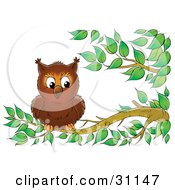 Clipart Illustration Of An Adorable Wild Owl Perched On A Tree Branch by Alex Bannykh