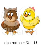 Clipart Illustration Of A Yellow Chick Talking To A Brown Owl by Alex Bannykh