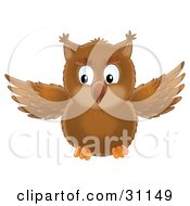 Clipart Illustration Of A Cute Brown Owl In Flight Flapping His Wings by Alex Bannykh