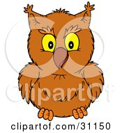 Clipart Illustration Of A Friendly Brown Owl Looking Forward by Alex Bannykh