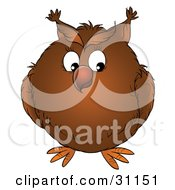 Clipart Illustration Of A Big Brown Owl Perched With Its Wings In Close by Alex Bannykh