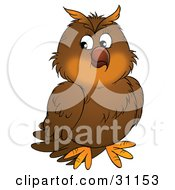 Clipart Illustration Of A Cute Brown Owl Looking Slightly Off To The Left by Alex Bannykh