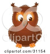 Clipart Illustration Of A Brown Owl Facing Front Its Eyes Looking Towards The Right by Alex Bannykh