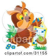 Clipart Illustration Of A Smart Brown Owl On The Ground With Flowers And Mushrooms Doing A Crossword Puzzle by Alex Bannykh