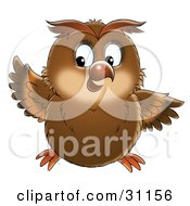 Clipart Illustration Of A Chubby Brown Owl Holding Up One Wing And Looking To The Left by Alex Bannykh