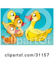 Clipart Illustration Of A Mother Duck Instructing Her Ducklings On How To Swim by Alex Bannykh