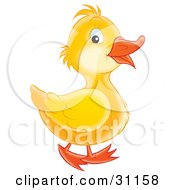 Clipart Illustration Of An Adorable Yellow Duckling Smiling And Waddling Past by Alex Bannykh #COLLC31158-0056
