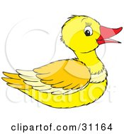 Clipart Illustration Of A Happy Yellow Duck With A Red Beak In Profile