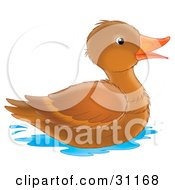 Clipart Illustration Of A Happy Brown Duck With An Orange Beak Swimming