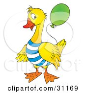 Yellow Duck Or Goose Dressed In A Striped Shirt Holding Onto A Blue Balloon