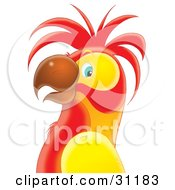 Clipart Illustration Of A Red And Yellow Parrot In Profile