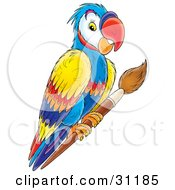 Clipart Illustration Of A Colorful Parrot Perched On A Wooden Paintbrush by Alex Bannykh