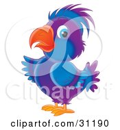 Clipart Illustration Of A Cute Blue And Purple Parrot With Blue Eyes by Alex Bannykh