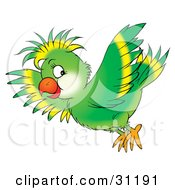 Clipart Illustration Of A Flying Green Parrot With Yellow Lines On His Head And Wing Feathers by Alex Bannykh