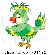 Clipart Illustration Of A Friendly Green Parrot With Yellow Markings On His Wing And Head Feathers by Alex Bannykh