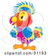 Clipart Illustration Of A Colorful Purple Red Yellow And Blue Parrot In Thought by Alex Bannykh