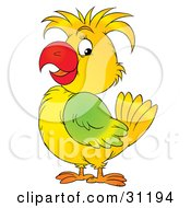 Clipart Illustration Of A Happy Yellow Parrot With Green Plumage On Its Wing by Alex Bannykh
