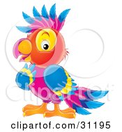Smart And Colorful Purple Red Yellow And Blue Parrot
