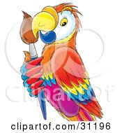 Clipart Illustration Of A Colorful Parrot Holding A Paintbrush by Alex Bannykh