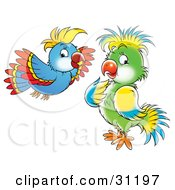 Clipart Illustration Of A Blue Red And Yellow Parrot Flying Near A Green Blue And Yellow Bird by Alex Bannykh