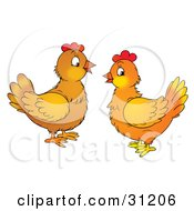 Clipart Illustration Of Two Chatty Chicken Hens Facing Each Other