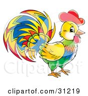 Clipart Illustration Of A Vibrantly Colored Rooster In Profile Facing Right by Alex Bannykh