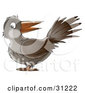 Clipart Illustration Of A Friendly Brown Crow Looking At The Viewer by Alex Bannykh