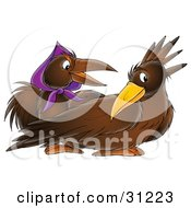 Clipart Illustration Of A Male And Female Crow The Female Wearing A Purple Scarf by Alex Bannykh