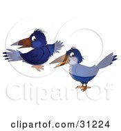 Clipart Illustration Of Two Blue Crows Glancing At The Viewer by Alex Bannykh