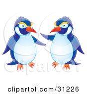 Clipart Illustration Of Two Blue White And Yellow Penguins Chatting by Alex Bannykh
