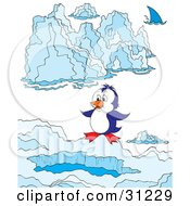 Clipart Illustration Of A Cute Blue And White Penguin Standing Above A Swimming Hole In Ice A Shark In The Distance